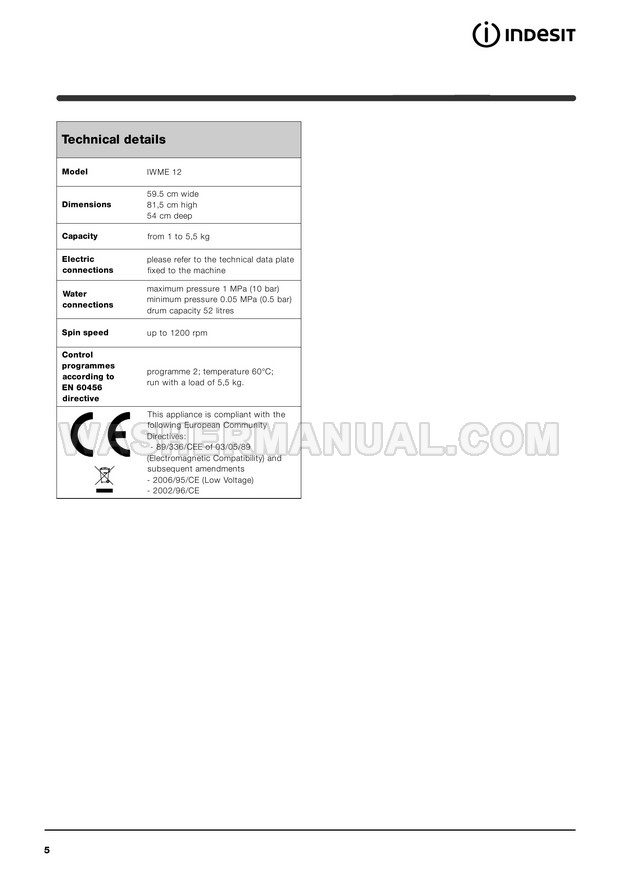 Indesit IWME 12 Front Load Washer Instructions for Use
