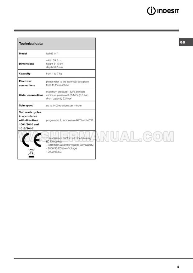 Indesit IWME 147 Washing Machine Instructions for Use