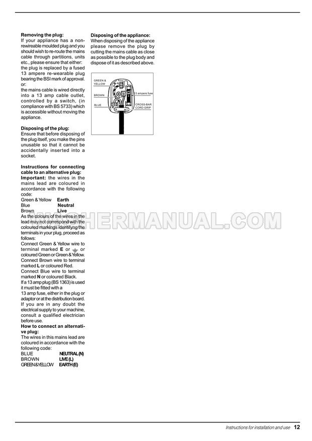 Indesit WD 12 X Integrated Washing Machine Instructions