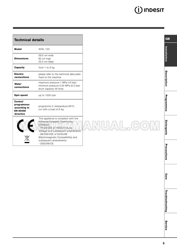 Indesit WIXL 123 Washing Machine Instructions for Use