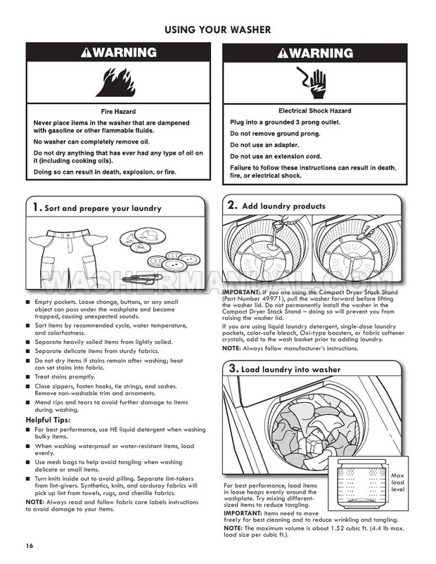 Kenmore 2644432K 110 Washing Machine Use & Care Guide