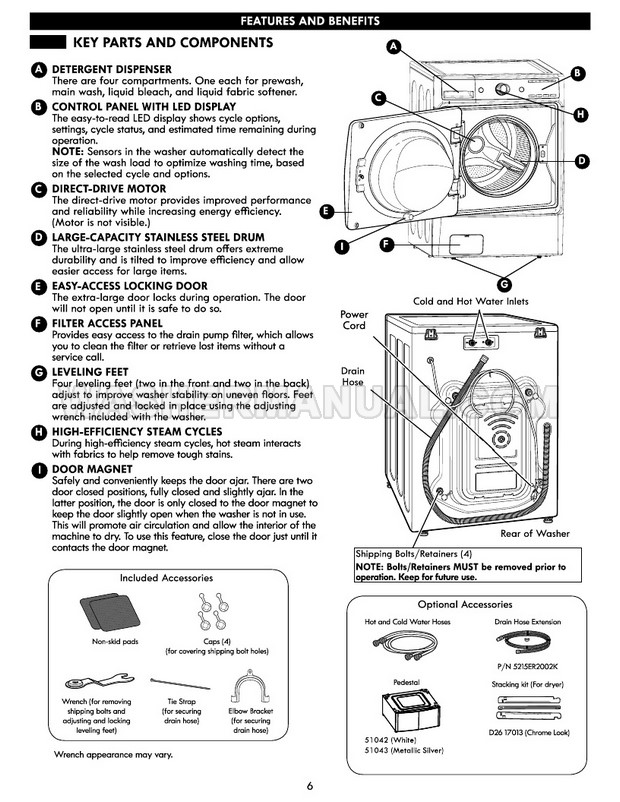 Kenmore 41073 Elite Washing Machine Use & Care Guide