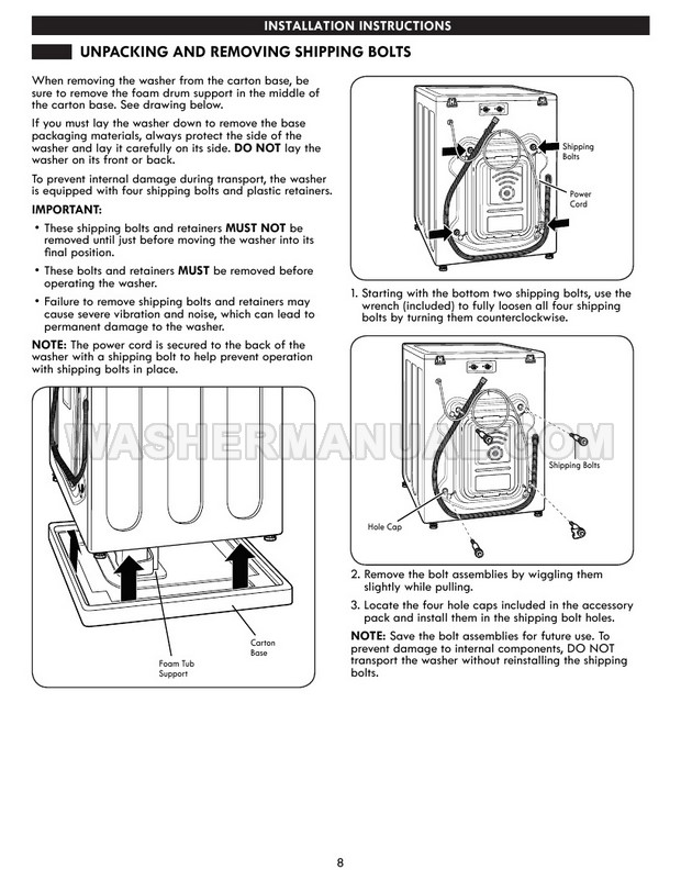 Kenmore 41393 796 Washing Machine Use & Care Guide