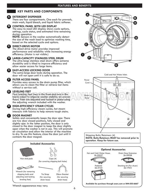 Kenmore 41463 Front Load Washer Use & Care Guide