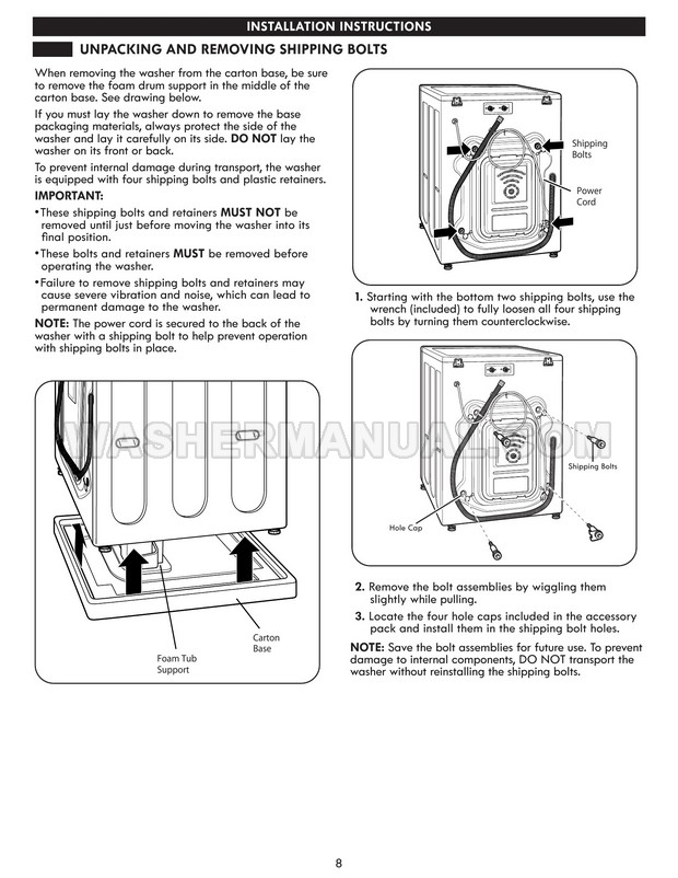 Kenmore 41582 Front Load Washer Use & Care Guide