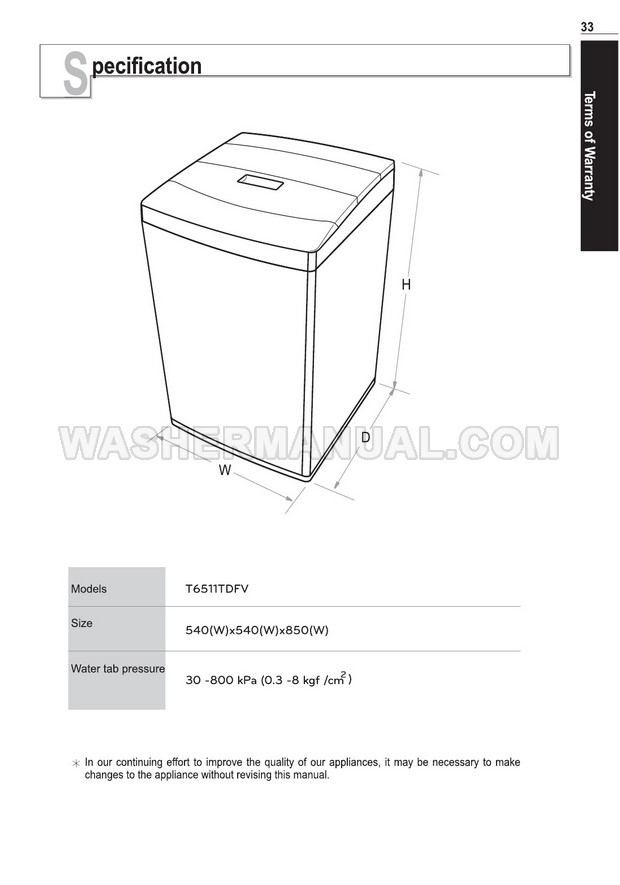 LG T6511TDFV Washing Machine Owner's Manual