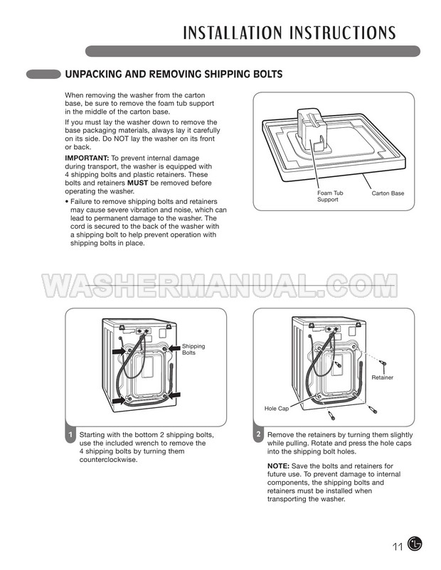 LG WM2010CW Washing Machine User's Guide & Installation
