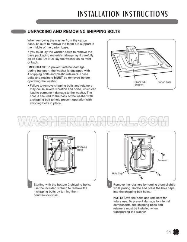 LG WM2050CW Washer User's Guide & Installation Instructions