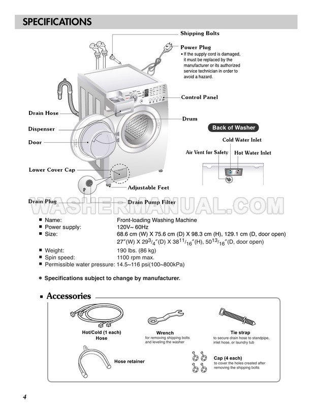 LG WM2101HW Washing Machine Owner's Manual