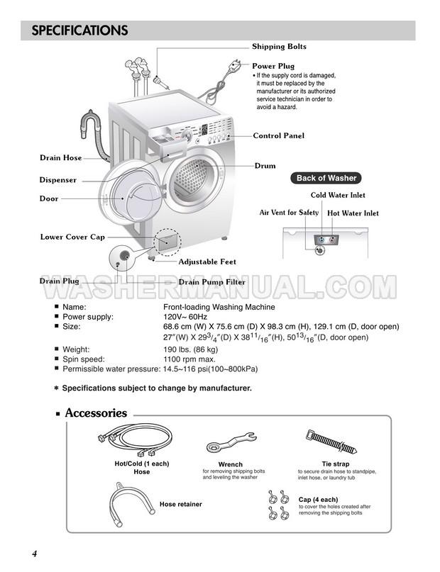 LG WM2101HW Washing Machine Owner's Manual