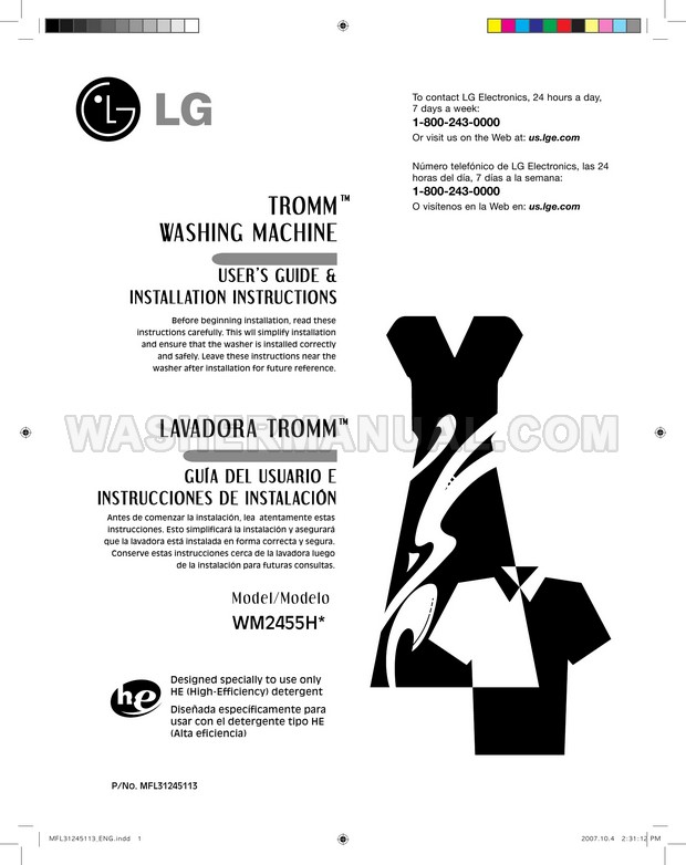 LG WM2455HG Washer User's Guide & Installation Instructions