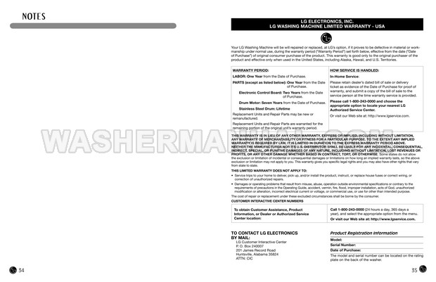 LG WM2487HRMA Front Load Washing Machine User's Guide