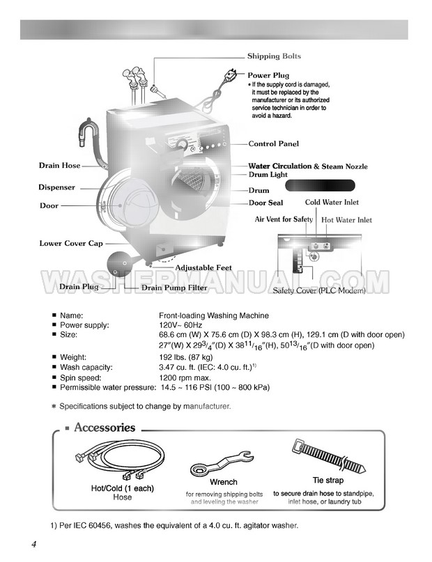 LG WM2487HWM Washer Owner's Manual