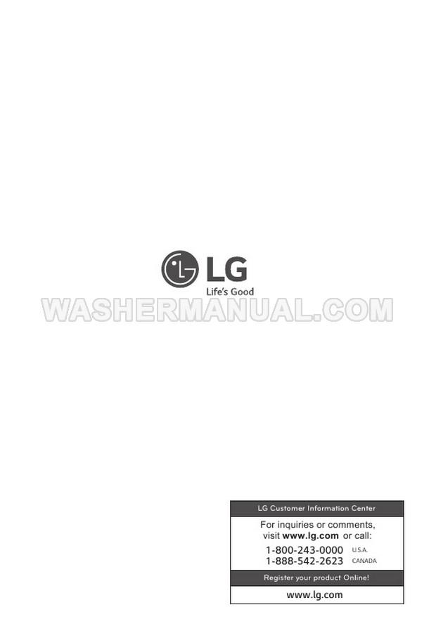 LG WM3499HVA Washing Machine Owner's Manual