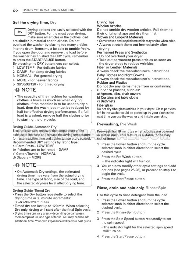 LG WM3997HWA Washer/Dryer Combo Owner's Manual