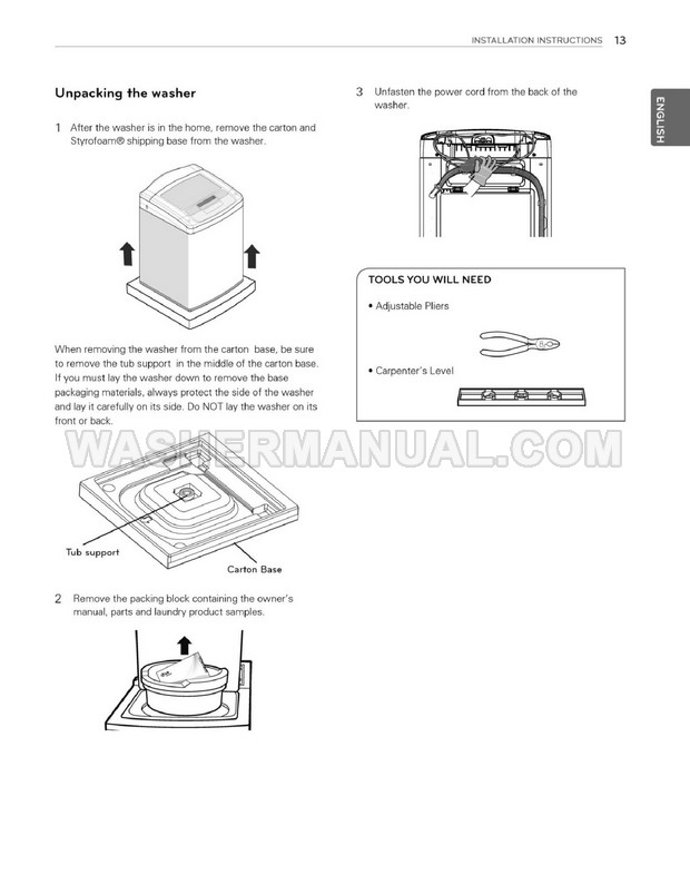 LG WT1101CW Top Load Washer Owner's Manual