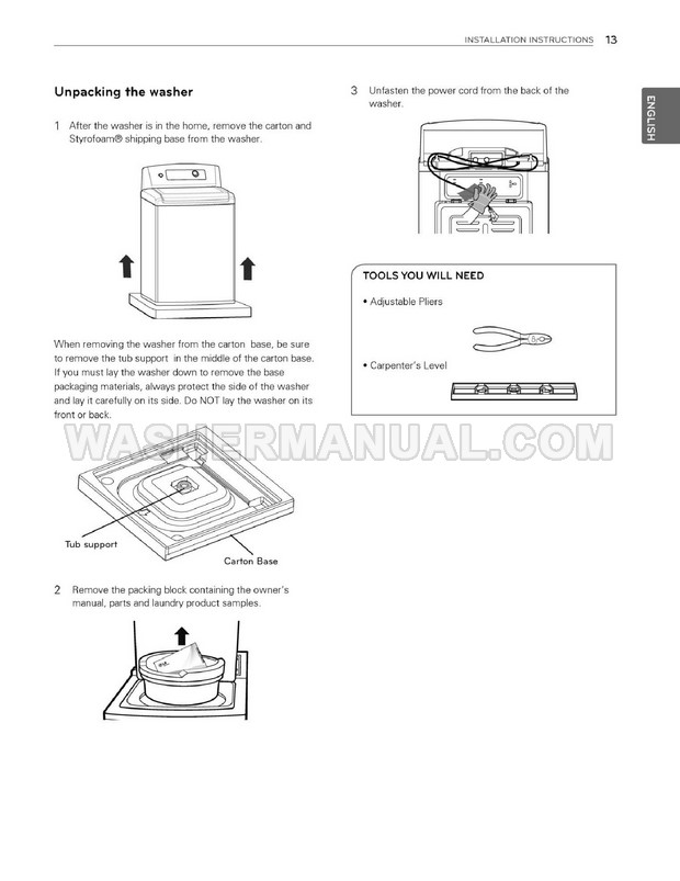 LG WT5075CW Top Load Washer Owner's Manual