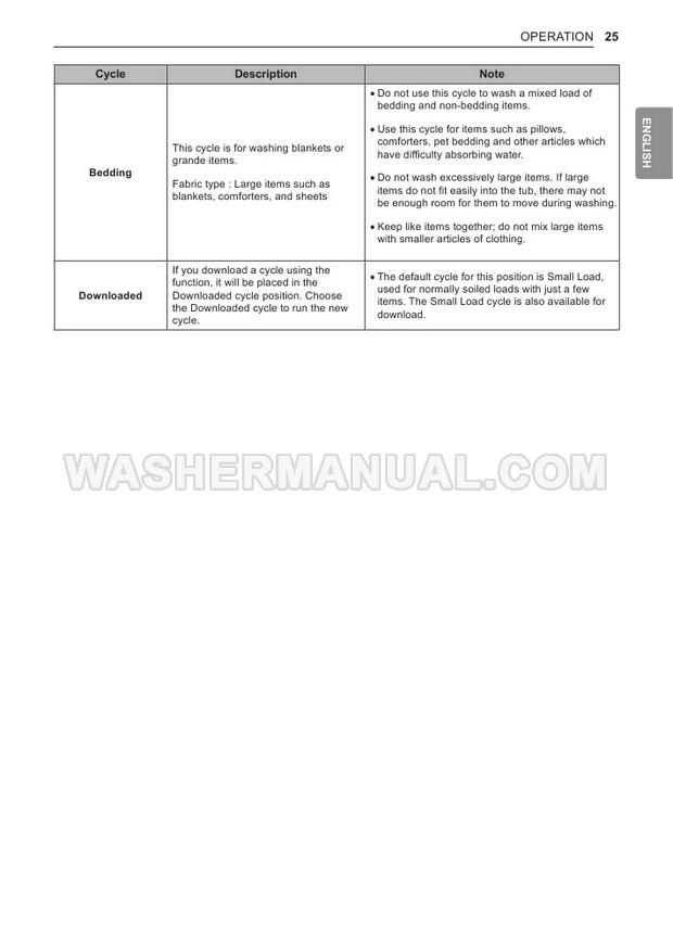 LG WT7300CW Washing Machine Owner's Manual