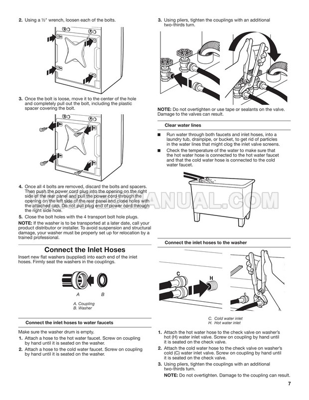 Maytag MHN33PRCWW Front Load Washer Installation Instructions