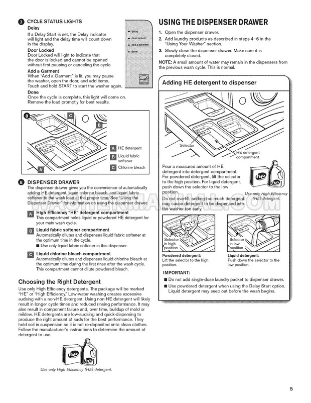 Maytag MHW5100DW0 Washer Use & Care Guide