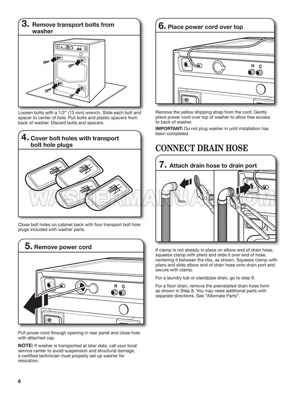 Maytag MHW4000BW1 Washing Machine Installation Instructions