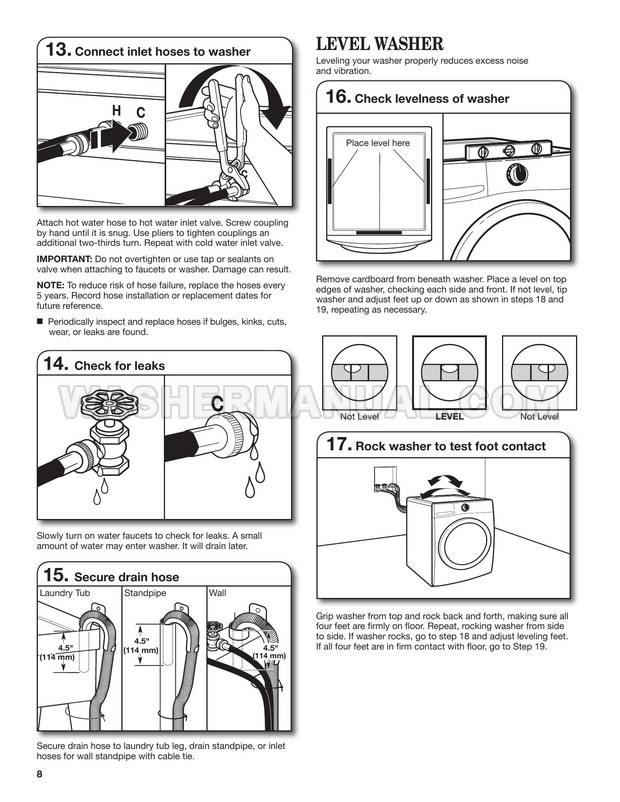 Maytag MHW7100DW Front Load Washer Installation Instructions