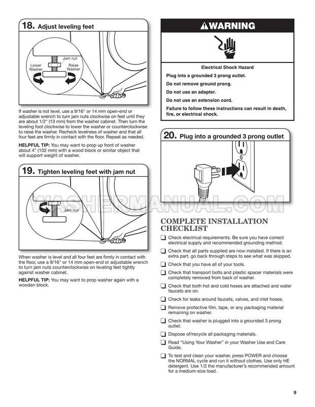 Maytag MHWE201YW00 2000 Series Installation Instructions