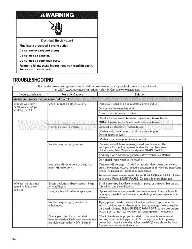 Maytag MVWB725BW0 Washing Machine Use and Care Guide