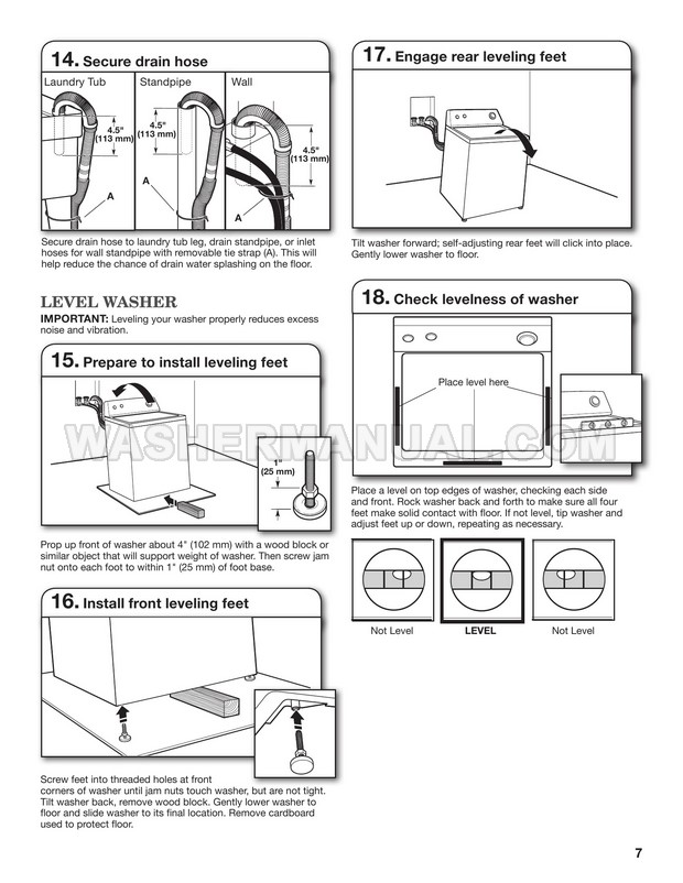 Maytag MVWC300VW1 Washer Installation Instructions