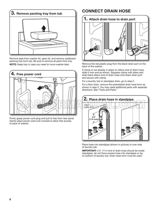 Maytag MVWP575GW Washing Machine Installation Instructions