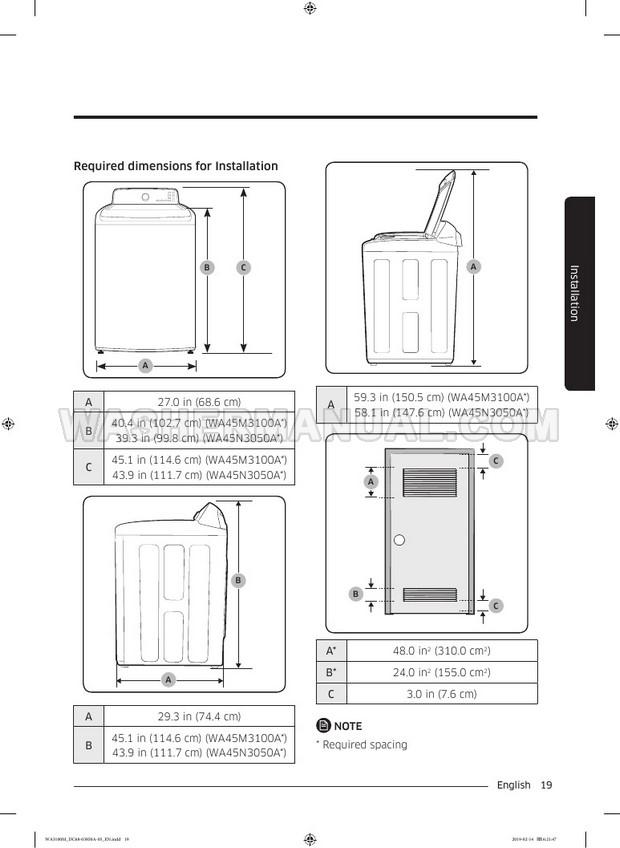 Samsung WA45M3100A Washer User Manual