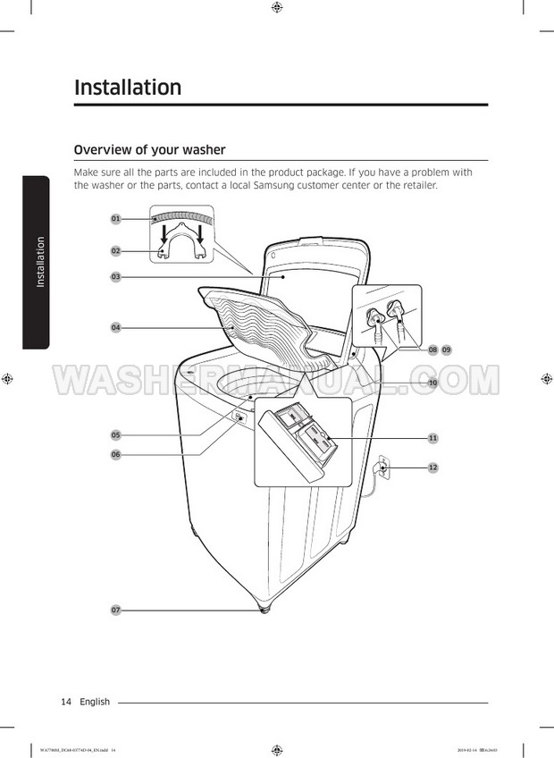 Samsung WA52M7755A activewash Washing Machine User Manual