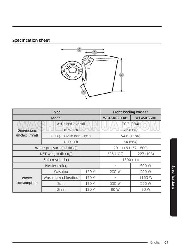 Samsung WF45K6500A Washer User Manual