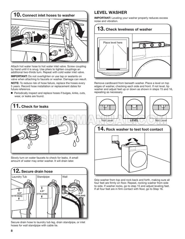 Whirlpool WFW560CHW Washing Machine Installation Instructions