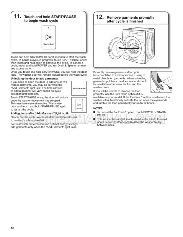 Whirlpool WFW8620HC Washer Use & Care Guide