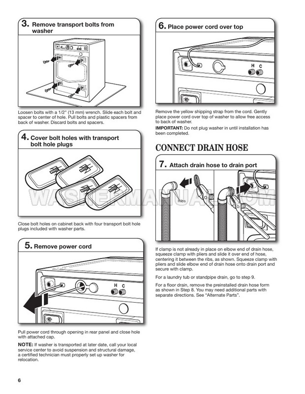 Whirlpool WFW97HEDW Washing Machine Installation Instructions