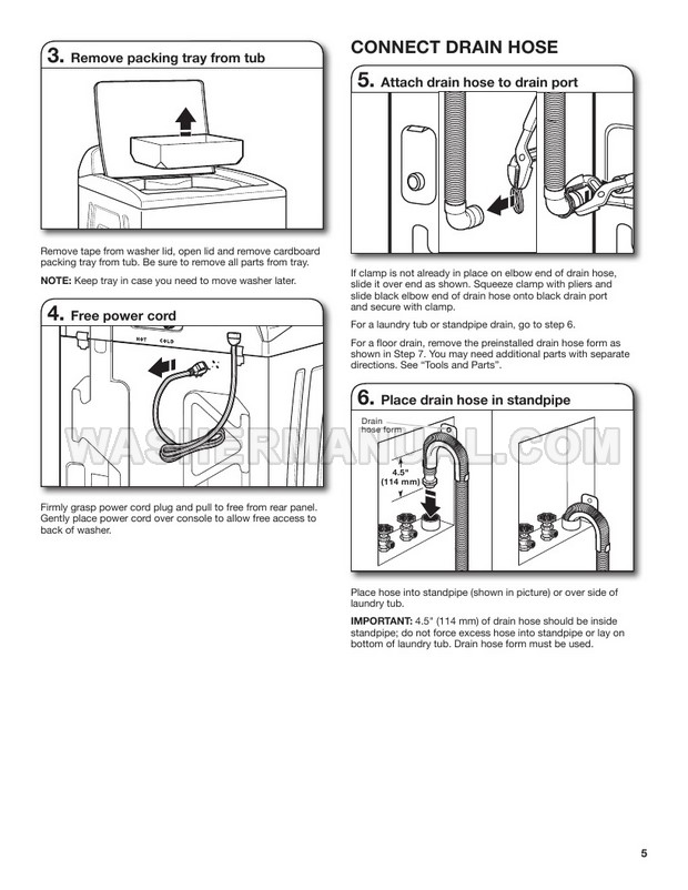 Whirlpool WTW5000DW Washing Machine Installation Instructions