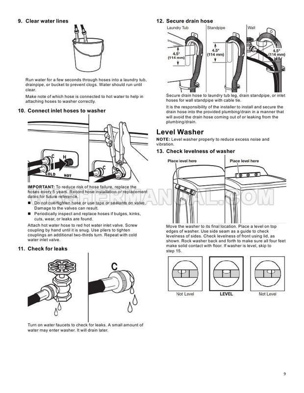 Whirlpool WTW8500DC Top Load Washing Machine Owner's Manual