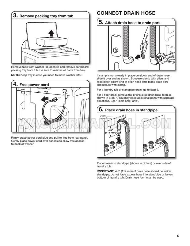 Whirlpool WTW8500DC Washing Machine Installation Instructions