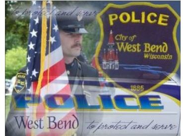West Bend Police logo with American Flag and police shield