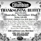 Celebrate Thanksgiving with a buffet at The Columbian in West Bend on Nov. 22, 2018