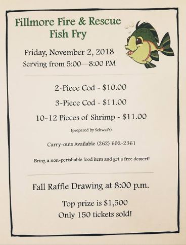 Fillmore Fire Department Fish Fry is Friday, Nov. 2