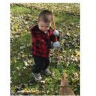 Little boy raking leaves in Hartford