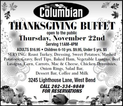 Celebrate Thanksgiving at The Columbian with a buffet on Thursday, Nov. 22, 2018