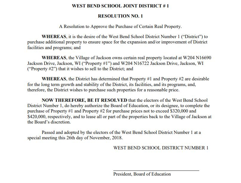 WBSD resolution to approve property purchase