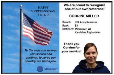 Weasler Engineering salutes veterans