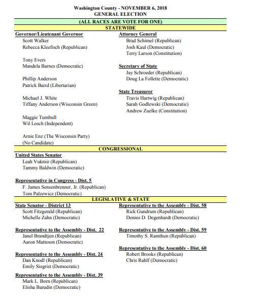 Election Day sample ballot Nov. 6