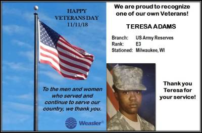 Teresa Adams served in military