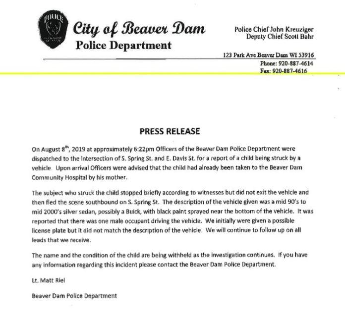 Beaver Dam Police hit and run press release