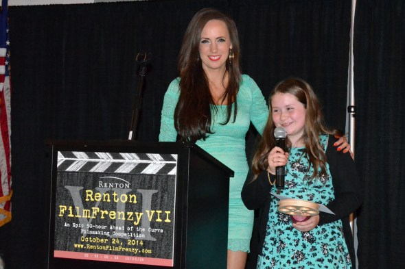"Amelia Ossorio receives the Reel Grrls Woman Filmmaker Award for ""Brad Goes to Renton."""